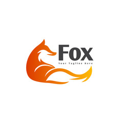 Fox wake up from sleep logo art
