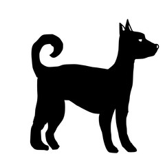 Figure silhouette of a dog in black and white