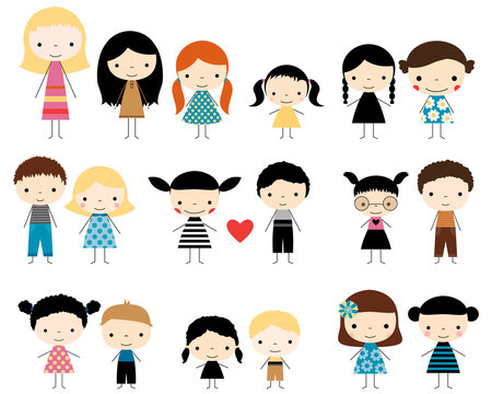 Cute stick figures children - boys and girls characters