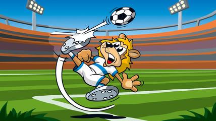 Löwe spielt Fußball im Stadion, Cartoon, Sportcartoon, Tiercartoon