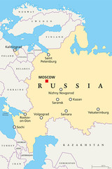 Map of venues of the Football World Cup in Russia, 2018. Political map of western part of Russian Federation with capital Moscow, borders and neighbor countries. English labeling. Illustration. Vector