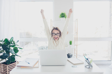 Portrait of positive glad woman holding hands up yelling looking at screen of laptop celebrating achievement successfully completed job project presentation