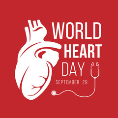 World heart day banner with white Human Heart sign and stethoscope sign on red background vector design