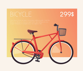 Bike for sale or rent. Bicycle sign for web or print. Cartoon vector illustration