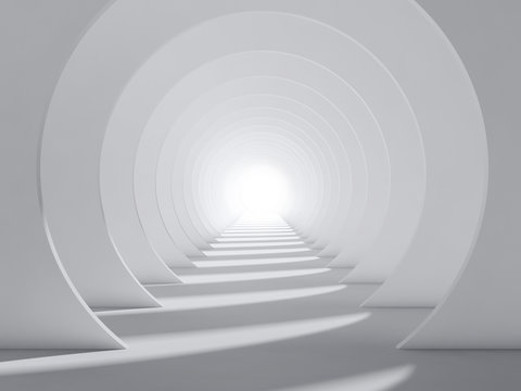 Abstract white 3d round tunnel interior