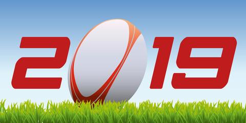 2019 - rugby - carte de vœux - présentation - invitation - sport - année - ballon - tournois