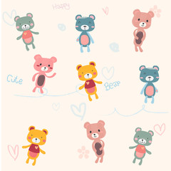 cute pastel teddy bears cartoon hand drawn for seamless background, and card