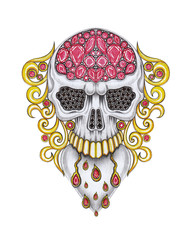 Jewelry Design  Art Vintage Heart mix Skull. Hand drawing and painting on paper.