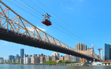 queensboro bridge blue sky, Hudson river and roosevelt island tramway in Manhattan, New York
