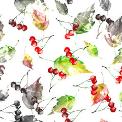 Watercolor vintage seamless autumn background. With paint divorces red, orange, green yellow. With autumn leaves, red berries. Beautiful, stylish background. Vintage background for fabric, paper.