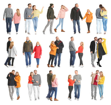 Collage with couples in casual clothes walking on white background