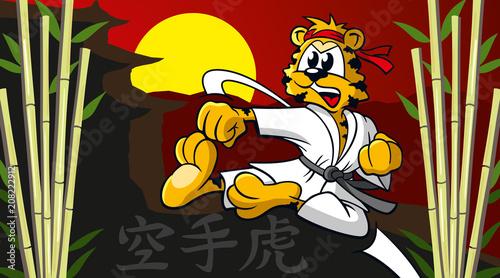 Kampfsport Tiger Mit Bambus Sonne Und Asiatischem Ambiente Cartoon
