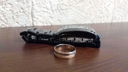 Wedding Ring and wrist watch