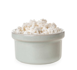 Bowl with tasty cottage cheese on white background