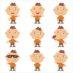 Set of little funny boy in different poses and emotion isolated on white background.