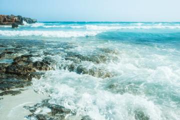 Printed kitchen splashbacks Zanzibar beautiful beach with waves in the nature of the background