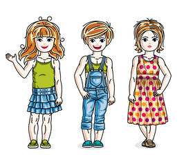 Little girls cute children group standing wearing fashionable casual clothes. Vector diversity kids illustrations set.