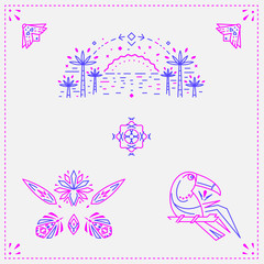 Exotic summer icon set. Surf and beach life.