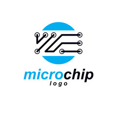 Vector abstract technology circuit board. High tech digital scheme of electronic device. Technology microchip logo.