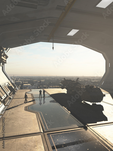 """Spaceship Hangar overlooking a Future City - science fiction illustration"" Stock photo and royalty-free images on Fotolia.com - Pic 208228312"