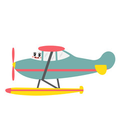 Seaplane transportation cartoon character side view isolated on white background vector illustration.