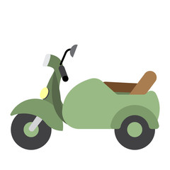 Sidecar transportation cartoon character side view isolated on white background vector illustration.