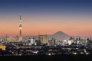 Tokyo night view , Tokyo Skytree landmark with Tokyo downtown building area and Mountain Fuji in winter season