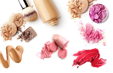 make-up cosmetics collection isolated on white background