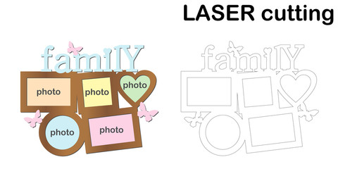Frame for photos with inscription 'Family' for laser cutting. Collage of photo frames. Template laser cutting machine