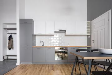 Gray and white open kitchen