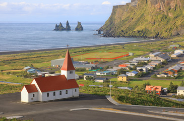 The village of Vic with views of the Church, Iceland