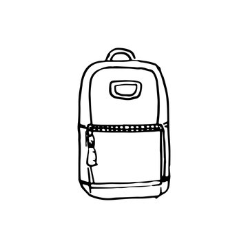 Handdrawn backpack doodle icon. Hand drawn black sketch. Sign symbol. Decoration element. White background. Isolated. Flat design. Vector illustration