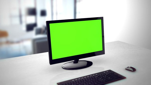 Computer monitor with green screen. 3D rendering