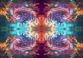 Abstract symmetric art. Mirrored fractal texture background. Fantastic pattern for graphic design production. Good for printed pictures, postcards, posters or covers and artistic print on ceramic. Fotobehang
