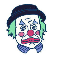 Hand drawn illustration of sad clown with green hair. Isolated vector on a white background.