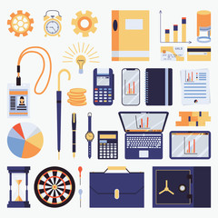 Vector set with business objects. Vector illustration with office stationery, badge, notebook, infographic and clock. Isolated on white background