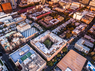 aerial view of urban district and buildings
