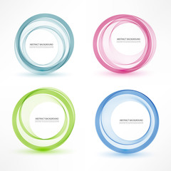Abstract vector banner set of 4. Colorful vector circles. Isolated with realistic light and shadow on the light panel. Each item contains space for own text. Vector illustration.