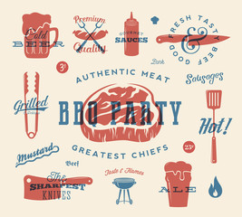 Barbecue Party Vector Retro Signs and Icons Collection. Meat and Beer Symbols With Typography Pattern. Steak, Sausage, Grill Labels. Red and Blue Print Effect.