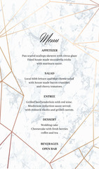 Wedding Menu template card. Geometric design in rose gold on the marble background. Dimensions 5x8,5 inch. Seamless marble pattern in the palette.
