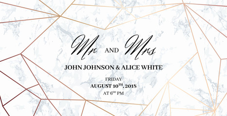 Mr. and Mrs. signs. Wedding template card of geometric design. White marble background and rose gold geometric pattern. Dimensions 9x4,5 inch. With 0,25 bleed. Seamless pattern included in palette.