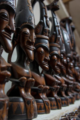 Traditional carving old man of Batak sold as souvenir to tourist in Samosir Island