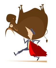 Cartoon bullfighter and bull illustration. Cartoon brave bullfighter carries a defeated bull on his shoulder and a cloak of the matador isolated on white illustration