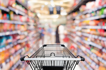 Shopping trolley in department store with goods shelf background