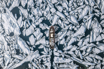 Aerial view of icebreaking vessel in lake