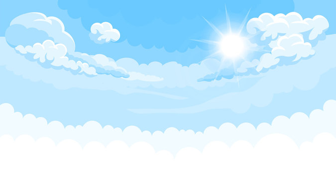 Sky background with sun and white bottom