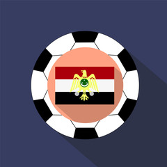 National flag of Egypt on the background of a soccer ball.
