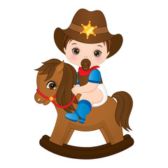 Vector Cute Little Baby Boy Dressed as Cowboy