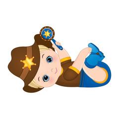 Vector Cute Little Baby Boy Dressed as Cowboy