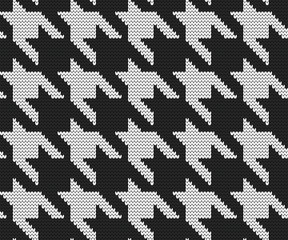 Knitted seamless pattern hounds tooth